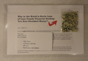 Shredded money in clear envelope direct mail peice