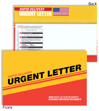 9 X 12 Rapid Delivery URGENT LETTER Red & Yellow